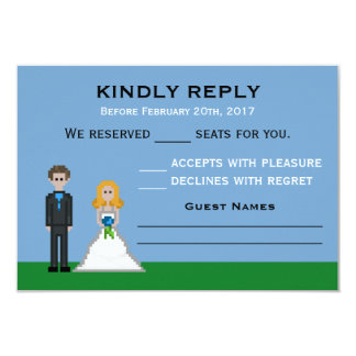 Pixel Gamer Bride & Groom Wedding RSVP Cards