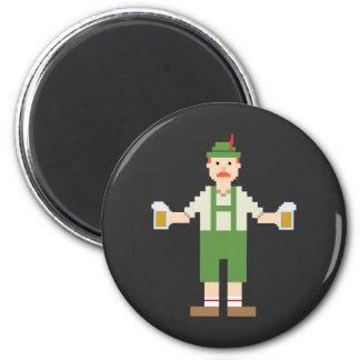 Pixel German with Beer 2 Inch Round Magnet
