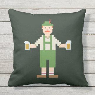 Pixel German with Beer Mugs Outdoor Pillow