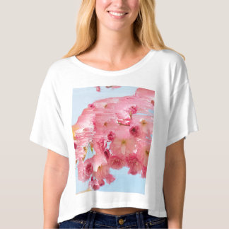 Pixel Glitch Cherry Blossom Floral Design T-shirt
