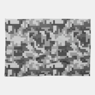 Pixel Grey and Black Army pattern Towel