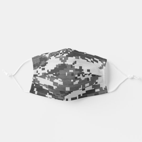 Pixel Grey Camouflage Cloth Face Mask
