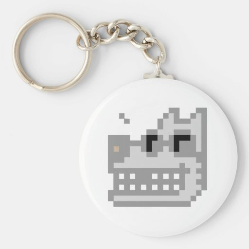 Pixel Grinning Wolf Key Chains