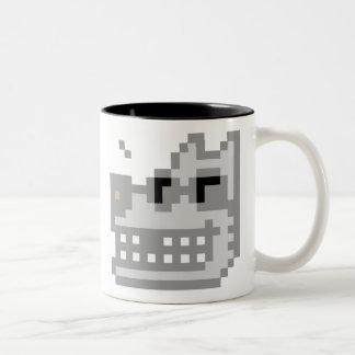 Pixel Grinning Wolf Two-Tone Coffee Mug