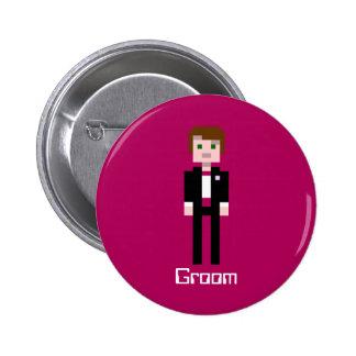 Pixel Groom - Maroon - Custom Pin