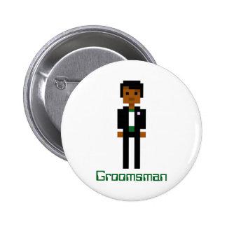 Pixel Groomsman 2 Pinback Button