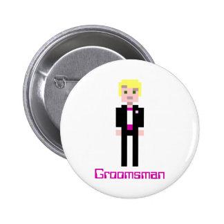 Pixel Groomsman - Berry Buttons