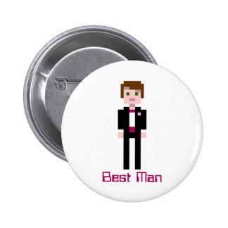 Pixel Groomsman - Maroon Pinback Buttons