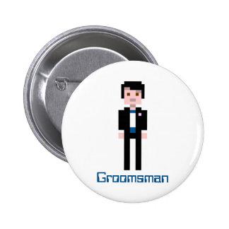 Pixel Groomsman - Navy Pinback Button