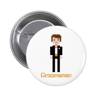 Pixel Groomsman - Orange Pinback Buttons