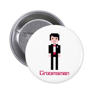 Pixel Groomsman - Red Pinback Button