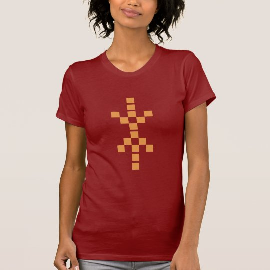 Pixel Hand of Eris (orange) ladies red t-shirt