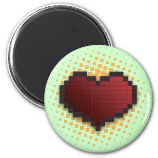 Pixel Heart 2 Inch Round Magnet