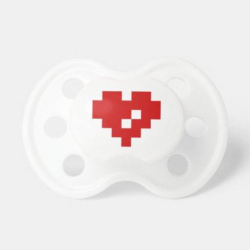 Pixel Heart 8 Bit Love Baby Pacifiers