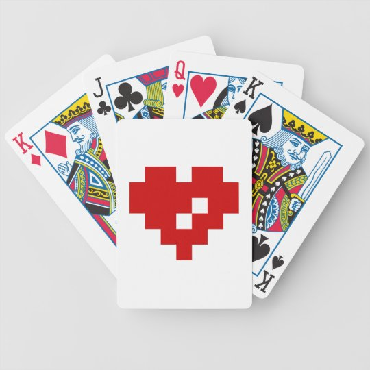 Pixel Heart 8 Bit Love Bicycle Playing Cards