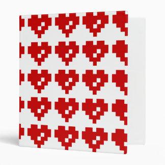 Pixel Heart 8 Bit Love 3 Ring Binders