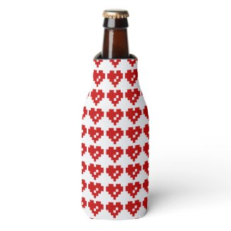 Pixel Heart 8 Bit Love Bottle Cooler