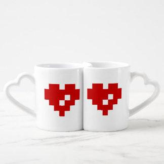 Pixel Heart 8 Bit Love Couples' Coffee Mug Set