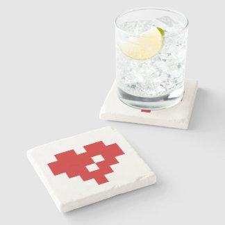 Pixel Heart 8 Bit Love Stone Coaster