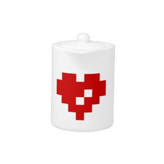 Pixel Heart 8 Bit Love Teapot