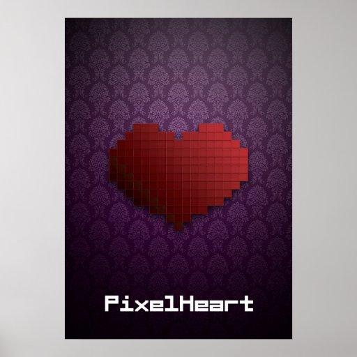 Pixel Heart Elegant Print