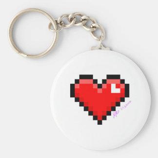 pixel heart keychain