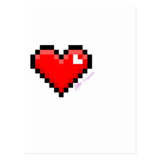 pixel heart postcard