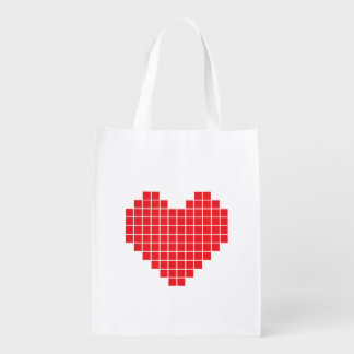Pixel Heart Reusable Bag