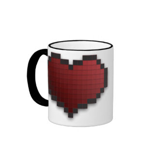 Pixel Heart Ringer Coffee Mug