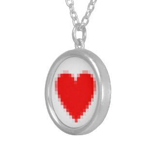Pixel Heart Round Pendant Necklace
