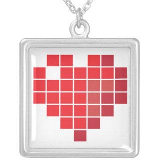 Pixel Heart Square Pendant Necklace