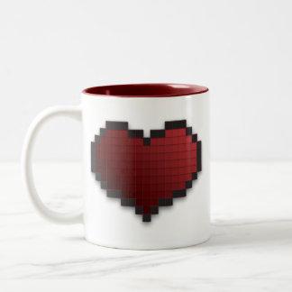 Pixel Heart Two-Tone Coffee Mug