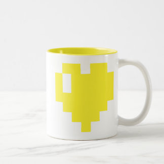 Pixel Heart Yellow Mug