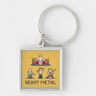 Pixel Heavy Metal Keychain Silver-Colored Square Keychain