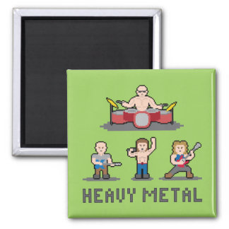 Pixel Heavy Metal Magnet 2 Inch Square Magnet