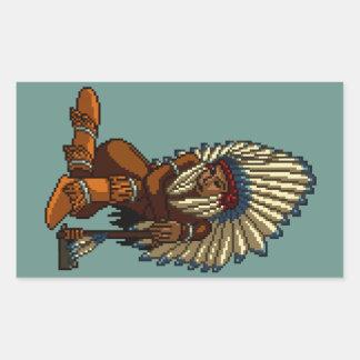 Pixel indio americano de la hacha de guerra de la pegatina rectangular