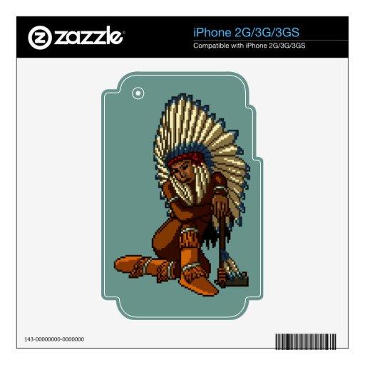 Pixel indio americano de la hacha de guerra de la  skins para iPhone 3