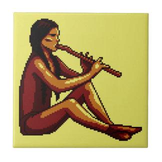 Pixel indio americano del jugador de flauta teja cerámica