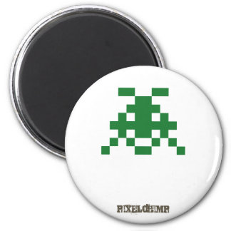 Pixel_Invader 2 Inch Round Magnet