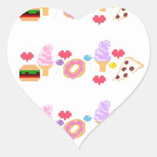 Pixel Junk Food Art Heart Sticker