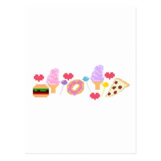 Pixel Junk Food Art Postcard