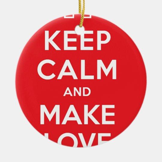 Pixel Keep Calm And Make Love Ceramic Ornament
