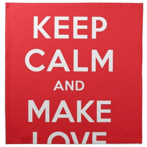 Pixel Keep Calm And Make Love Cloth Napkin