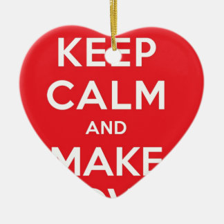 Pixel Keep Calm And Make Love Double-Sided Heart Ceramic Christmas Ornament