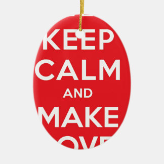 Pixel Keep Calm And Make Love Double-Sided Oval Ceramic Christmas Ornament