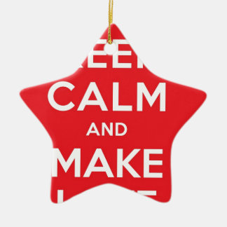 Pixel Keep Calm And Make Love Double-Sided Star Ceramic Christmas Ornament