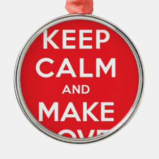 Pixel Keep Calm And Make Love Round Metal Christmas Ornament