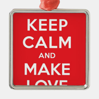Pixel Keep Calm And Make Love Square Metal Christmas Ornament