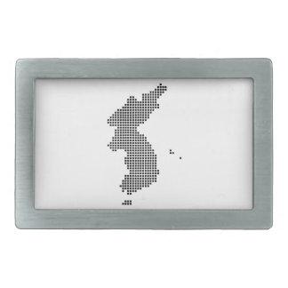 Pixel Korea Map Rectangular Belt Buckle