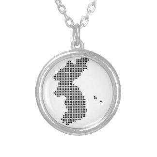 Pixel Korea Map Round Pendant Necklace